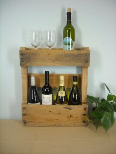 Rustic Wine Rack, Rustic Furnishings, Rustic Pallet Liquor Cabinet, Rustic Wine…