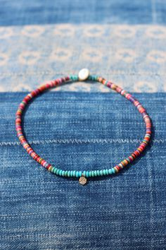 Boho Choker w Colorful Vinyl, Turquoise & Gold Vermeil Peace Sign, Tiny Peace charm, African Vinyl, Festival Style, Dainty, Layering, Hippie