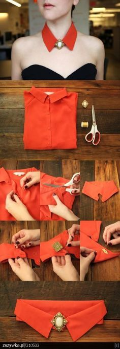 DIY collar necklace... use a shirt with peter pan collar instead of pointed!
