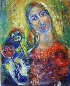 Eva Bednay, Eve B'AY (©1973 artmajeur.com/ebednay): Blues, Oil on canvas