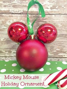 Mickey Mouse Ornament Craft  Featured with 33+ Handmade Christmas Ornaments to Make with Your Kids! {OneCreativeMommy.com}