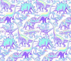Dinosaurs_Pastel. fabric by art_on_fabric on Spoonflower - custom fabric