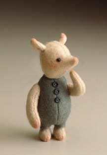 "RJW Dolls presents - Pocket Piglet.   2 3/4"", felt, glass eyes, jointed at neck and shoulders. Date of Release: 1994 Ltd. Ed. 3500."