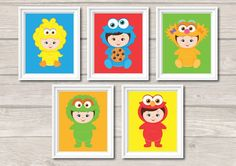 5x Nursery Art Prints Baby Sesame Street Elmo Cute Baby Boys Girls Nursery Room Wall Art Decor Birthday Party Supplies INSTANT DOWNLOAD