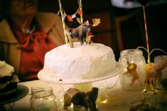 table set up animals baby party cake
