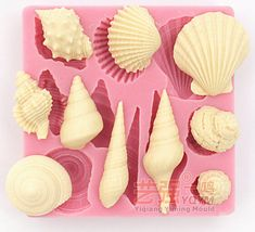 Clay mold Mini Conch seashell snail shape Fondant cake mold silicone sugar craft mould chocolate mold decoration for cake kitchen tools Cake Decorating Tools, Cake Decorating Techniques, Chocolate Fondant, Chocolate Molds, Modeling Clay Recipe, Sugar Mold, Making A Bouquet, Sugar Craft, Fondant Molds