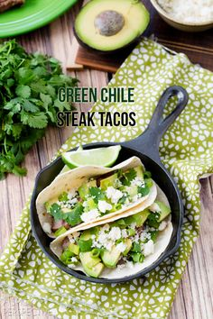 Green Chile Steak Tacos #tacos #steak #mexican