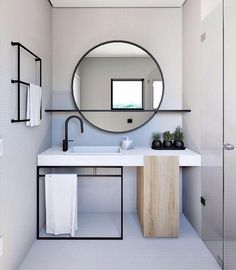 Home Interior Layout Mirror With Shelf Q.Home Interior Layout Mirror With Shelf Q Modern Bathroom Design, Bathroom Interior Design, Minimal Bathroom, Bathroom Designs, Modern Design, White Bathroom, Small Bathroom, Master Bathrooms, Bathroom Vanities