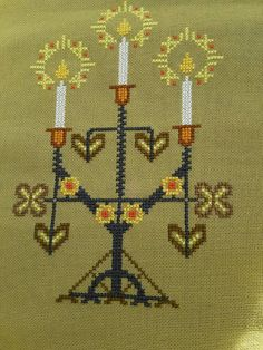 Beautiful christmas cross stitch embroidered by Ingsvintage