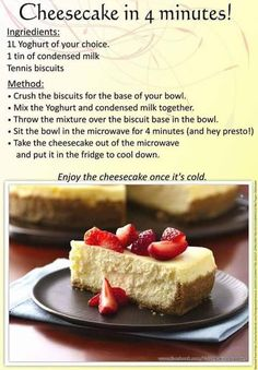 (Microwave) 4 min cheesecake using yogourt Tart Recipes, Cookbook Recipes, Sweet Recipes, Baking Recipes, Easy Desserts, Delicious Desserts, Dessert Recipes, Yummy Food, Recipes