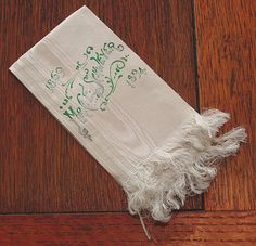 "Em's Heart Antique Linens--Party Menu for 25th Birthday ""Mr. C.E. Schweyer, 1869-1894""  Beautiful!"