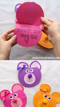 Kids Crafts MAMA BEAR CARD 🐻🧡💜 - such a cute Mother's day card for kids to make! An easy preschool or kindergarten Mother's day craft for kids. Valentine Crafts For Kids, Mothers Day Crafts For Kids, Fathers Day Crafts, Paper Crafts For Kids, Easy Crafts For Kids, Toddler Crafts, Paper Crafting, Creative Crafts, Fathers Day Craft Toddler