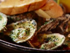 Char-Grilled Oysters recipe from Diners, Drive-Ins and Dives via Food Network Dove Recipes, Fish Recipes, Seafood Recipes, Clam Recipes, Seafood Appetizers, Party Recipes, Summer Recipes, Appetizer Recipes, Recipes