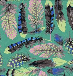 Martha Negley Farmington Feathers in Aqua