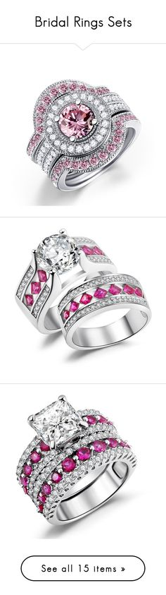 """""""Bridal Rings Sets"""" by caperci on Polyvore featuring jewelry, rings, bridal rings, cz engagement rings, pink sapphire diamond ring, diamond bridal rings, engagement rings, pink sapphire ring, wedding set ring and sterling silver rings"""