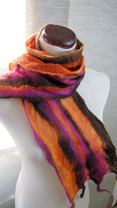 Orange Nuno Felted Silk Scarf OOAK Silk and Wool