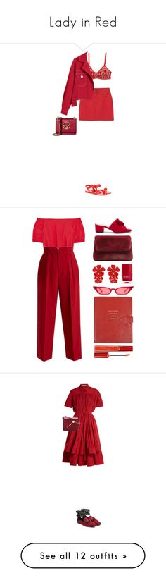"""Lady in Red"" by katrinattack ❤ liked on Polyvore featuring Givenchy, Fendi, red, ladyinred, polyvorefashion, Raye, MANGO, Jennifer Behr, Nails Inc. and Madewell"