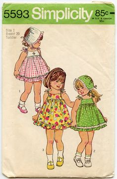 Girls Sundress Pattern Simplicity 5593 by CherryCorners,