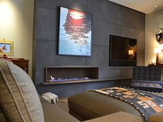 corten steel fire place with blackened (hot rolled steel surround)