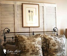Easy, Cheap, and elegant headboard ~ i love the brown Toile on the wroughtiron bed!