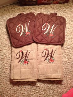 Monogrammed Fall Dish Towel and Potholder Set