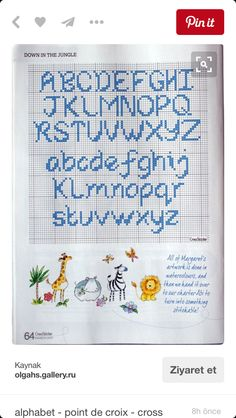 Crochet Alphabet, Cross Stitch Alphabet Patterns, Cross Stitch Letters, Stitch Patterns, Stencils, Bullet Journal, Embroidery, Artwork, Crafts