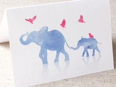 Big and Small Elephant Greeting Card - Watercolor - Birthday - Baby Shower - Thank You Card