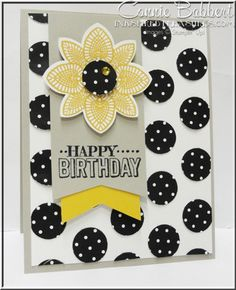 For the Stampin' Up! Only Challenge114, Petal Potpourri, Polka Dots embossed background, Stampin' Up!, #stampinup, black and white, Connie Babbert, www.inkspiredtreasures.com