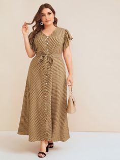 Plus Polka Dot Ruffle Sleeve Belted Dress Source by deboritanavas plus size vestidos Plus Size Dresses, Plus Size Outfits, Hijab Fashion, Fashion Dresses, Fashion Tips, Mode Turban, Casual Dresses, Summer Dresses, Vestidos Vintage