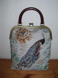 Wristlets - Joisys® City Bag Bügel Jaquard Türkis Pfau - ein Designerstück von Leinen-Traum bei DaWanda