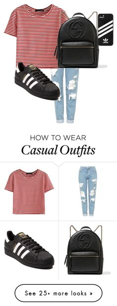 """Casual outfit for school"" by hollygrace16 on Polyvore featuring Topshop, WithChic, Gucci and adidas"