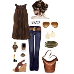 Brown Tank and Jeans, True Religion, Tory Burch, Coach and Michael Kors