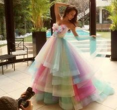 2016 Colorful Rainbow Prom Dresses A Line Sweetheart Floor Length Long Prom Gowns Sleeveless Tulle Vestidos De Fiesta 100% Real Photos