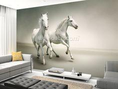 White Horses mural wallpaper room setting