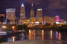 Cleveland, Oh Skyline @ Night Cleveland Skyline, Downtown Cleveland, Cleveland Rocks, Cleveland Wedding, Oh My Home, County Seat, My Kind Of Town, Lake Erie, Places To See