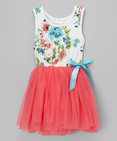 Look at this #zulilyfind! Coral Flower Tank Tutu Dress - Infant, Toddler & Girls by Chicaboo #zulilyfinds