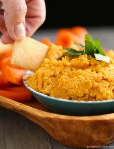 Carrot Hummus | Garnish with Lemon
