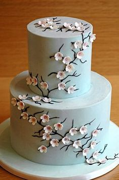 How do we get this look without fondant? :  wedding cake fondant icing CherryBlossoms