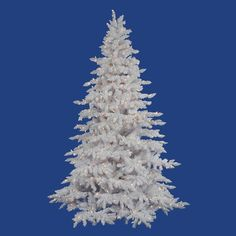 """Vickerman Flocked White Spruce 90"""" Artificial Christmas Tree with Clear Lights"""