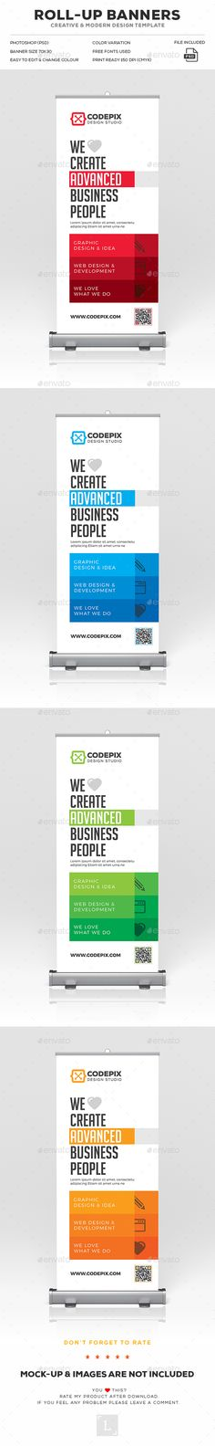 Roll-Up Banner Design Template - Signage Print Templates PSD. Download here: https://graphicriver.net/item/rollup-banner/19287548?ref=yinkira