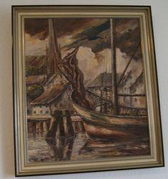 Hans Lang Öl Gemälde 1948 Original und Signiert