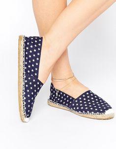 Image 1 ofOAS Blue Star Espadrille Slip On Flat Shoes