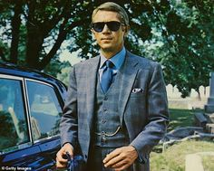 She said: 'I was 17 and I was with my boyfriend and Steve McQueen turned up on his motorbi... Ryan Gosling, Hollywood Fashion, Hollywood Actresses, Hollywood Style, Charles Manson, Best Suits For Men, Cool Suits, Three Piece Suit, Dating