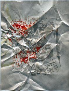 Steven Parrino   untitled (Drag Strip Terror), 1991 spray can on screen print   27,7 x 21,4 cm