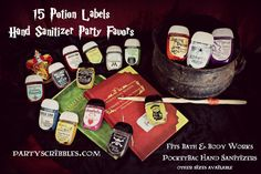 THIS IS AN INSTANT DOWNLOAD DIGITAL FILE THAT YOU PRINT. SEE PRINTING INFO BELOW 15 different potion labels to print and make favors for your birthday, wedding, stocking stuffers, in a gift basket or wizard party. The labels fit a Bath & Body Works PocketBac hand sanitizer.