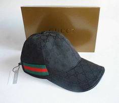 564d136c new Gucci Men's black hat baseball cap With Web Black Original GG Canvas  size M