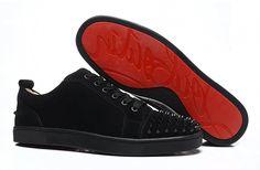 New Christian Louboutin Black Matte Black Spike Sneakers