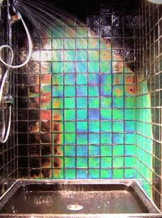 Heat-Sensitive Shower Tiles - The Northern Lights Tile is Heat Sensitive and Changes Color