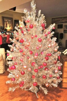 Pink and Silver Christmas..vintage aluminum tinsel tree from the fifties and sixties!!! Bebe'!!! Decorated with all pink glass ornaments!!!