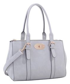 Look what I found on #zulily! Light Gray Buckle-Accent Double-Handle Satchel #zulilyfinds